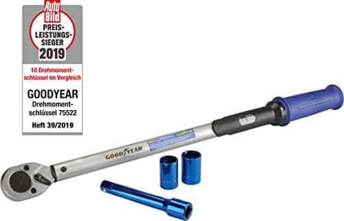 Goodyear 75522 Premium Drehmomentschlüssel inkl. Verlängerung und Stecknüsse 17 mm und 19 mm